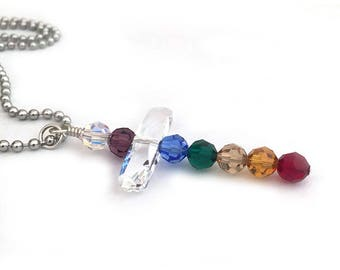 Rainbow Chakra Crystals Cross Necklace Bead Pendant