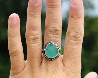 Teal Seaglass Boho Ring; Sterling Silver; Size 6 3/4
