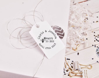 Meant to bee stamp personalized with names and date for DIY wedding tags --5696