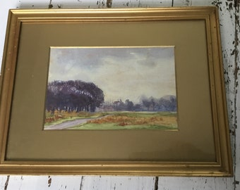 Gold gilt framed watercolour Suffolk norfolk Scene scenery view countryside manor gold gilt frame pretty
