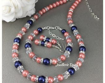 Coral and Navy Necklace Coral Jewelry Navy Bracelet Coral Bracelet Jewelry Set Bridesmaid Gift for Her Maid of Honor Gift Wedding Jewelry