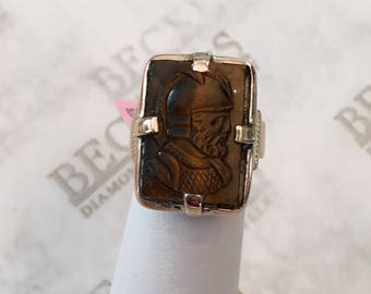 Lady's Art Deco 14k yellow gold Carved Tiger's Eye Roman Soldier Cameo Ring, size 3