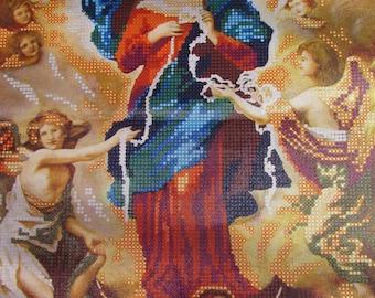 DIY Beaded Embroidery kit Mary Undoer of knots Religious icon Virgin Mary Untier of Knots Kit Needlepoint bead icon Mary Beaded stitching