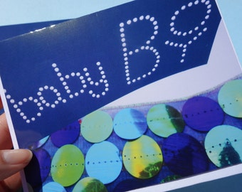 """12 - Shades of Blue Bubbles Ocean Themed Shower Post Card Invitations """"Baby Boy"""" & Envelopes- Turquoise, Navy, Aqua, Green - READY TO SHIP"""