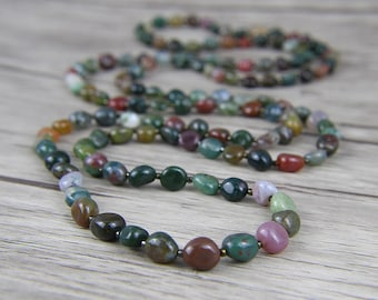 long bead necklace Indian agate necklace Bead wrap necklace Yoga necklace BOHO bead necklace Gemstone necklace bead lariat necklace NL-035
