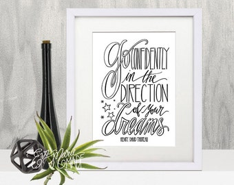 Inspirational Gifts, Inspirational Printable, Inspirational Wall Art, Go Confidently in the Direction of your Dreams, Henry David Thoreau