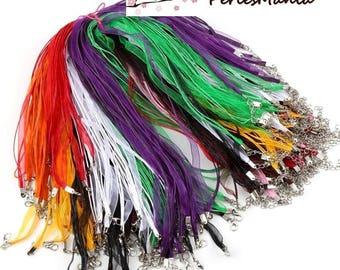 5 necklaces multicolored organza and cord 2 row 1 mm DIY