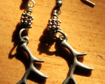 Lodge Style Elk Antler Earrings in Antique Brass, antique Silver and Antique Copper
