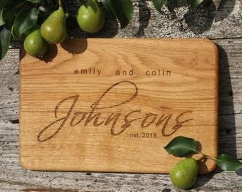 Engraved oak cutting board/Custom OAK cutting board/oak cutting board as wedding gift/cutting board anniversary gift/housewarming gift for