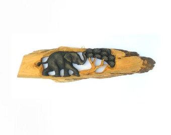 """Wood Carving Elephant With Tree wooden hand carved Elephant Natural Rustic Driftwood Art Home Decor Wall Hanging / Gift 23""""x 6"""""""
