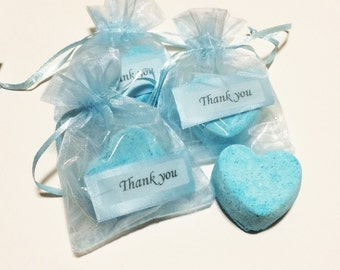 Heart Bath Bomb Party Favors, Aromatherapy Essential Oil, Handmade Hydrating Bath Fizzy, Dry Skin, Nourishing Coconut Oil, Lavender Buds