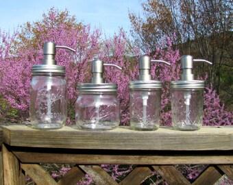 Non Foaming Mason Jar Soap Dispenser, Rust Proof Stainless Steel Mason Jar Lid, Stainless Steel Soap Pump, 8oz or 16oz Mason Jars