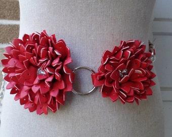 Vintage Belt, Red Double Flower Belt, Red Floral Belt with Rhinestone Center Chain Link Belt,Adjustable Chain Belt