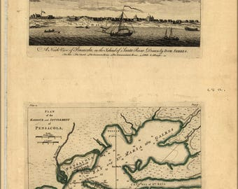 Poster, Many Sizes Available; View & Map Of Pensacola Florida 1768