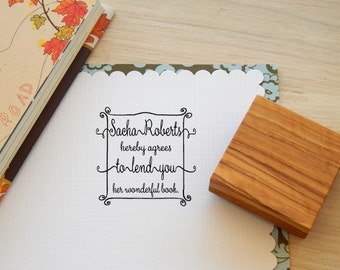 Custom All of a Flourish Olive Wood Bookplate Stamp