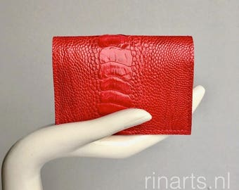 Card holder / wallet in red genuine ostrich (leg) leather and fuchsia pink suede lining. Gift for woman. OOAK ostrich wallet