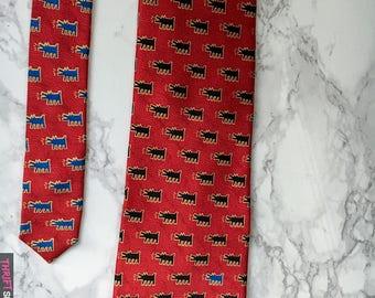 Vintage Keith Haring - Barking Dog Tie