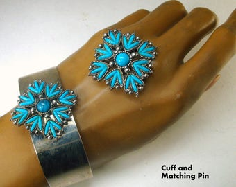 Southwest Tribal American Faux Silver Turquoise Cuff and Matching Pin,  1970s, Classic Old N Mexico USA Style,