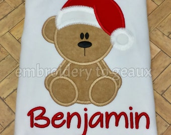 Boys Holiday T-Shirt, Christmas Shirt for Boys, Santa Bear T-Shirt or Infant Bodysuit, Boys Holiday Outfit, Boys Christmas T-Shirt