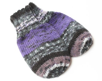 Vegan Wool-Free Acrylic Knit Thumbless Baby Mittens on String. Baby Mitts. Purple Black Winter Mittens. 9 to 12 Months Infant Hand Warmers