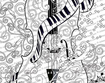 Adult Coloring Page Printable Guitar Pages Music