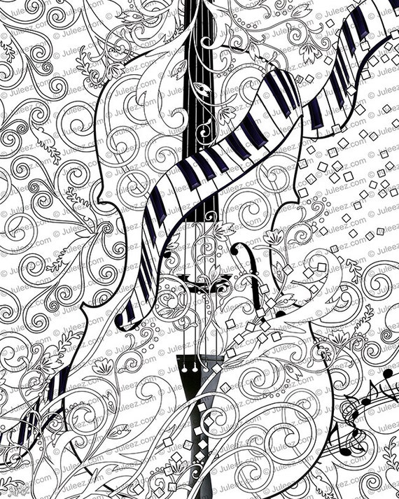 3 printable coloring posters adult coloring page set of 3 violin art coloring posters line art instant download by juleez - Coloring Posters Printable