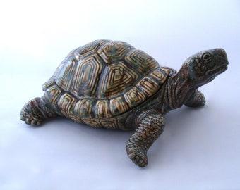 Large 14 inch Ceramic Turtle - Realistic looking Ceramic Turtle - Turtle Yard Art - Turtle - Garden Decor - Pond Decor - Big Turtle - Turtle