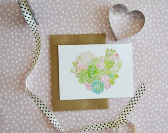 Watercolor Succulent Card- Anniversary Card- Heart Card- Blank Valentine's Card- Hand Painted Card-  Succulent Card
