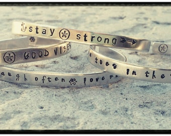 Custom Cuff - Hand Stamped Cuff Bracelet - Choose Phrase with Symbols or Make Your Own- 1100 Quality Aluminum//Non Tarnish//Hypoallergenic