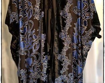 HIPPIE HAUTE KIMONO - Glittery Velvet Burnout Jacket, Boho Devore Fringe Wrap, Gypsy Chic Outwear, Sparkly Festival Haori [K-1801]
