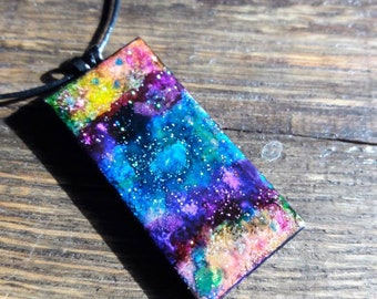 Upcycled ceramic tile necklace made with alcohol inks