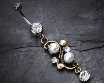 Vintage Pearl Journey Belly Button Ring - Clear