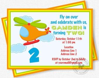 Helicopter Birthday Invitation, Transportation Birthday Invitation, Second Birthday Invitation, Boy Birthday Invitation