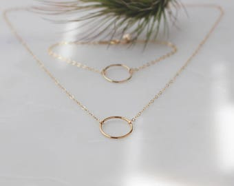 Gold Dainty Circle Link Necklace - 14k Gold Filled, 15mm Circle