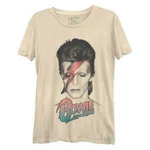 David Bowie Aladdin Sane Pastel Casual Tee (BWE0129-324CRM) Golden Years, Heroes, Starman, Ziggy Stardust, Labyrinth, Let's Dance, Bowie