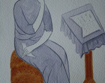 The Muse in a Violet Dress / Original Watercolor Painting