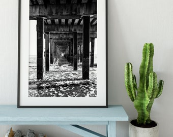 Coney Island Pier - New York Photography, Black and White, Architecture, Wall Art, NYC, Fine Art Print, Urban Art, Home Decor