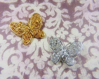 "Vintage Gold OR Silver Filigree Butterfly Brooch - BUT-139 - Silver Brooch Signed ""GERRY'S"""