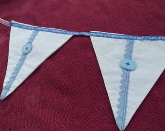 Bunting, Fabric Bunting, Triangles, calico with blue, buttons, light blue, wall hanging, decoration, wedding