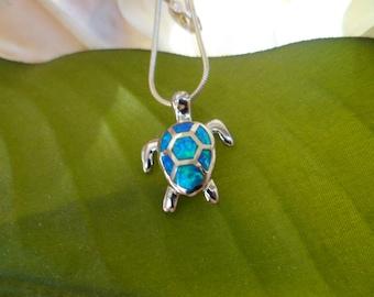 925 Silver Necklace - Blue Opal Turtle  Necklace -  Turtle Pendant