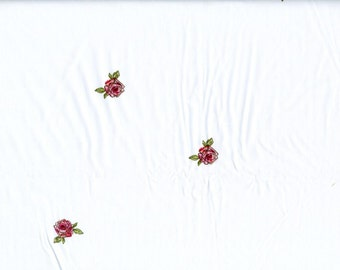 Fabric white with small red roses Cotton Fabric House textilies Fabric Scandinavian Design Scandinavian Textile