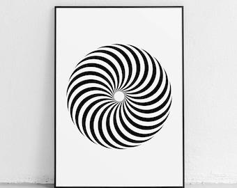Geometric Wall Art, Psychedelic, Minimalist Poster, Black and White Art, Abstract, Mid Century Modern, Pop Art, Wall Art Prints, Wall Decor