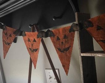 Primitive pumpkin halloween fall orange banner Made to order