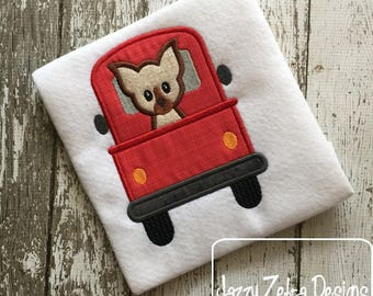 Truck with Chihuahua dog appliqué embroidery design - truck appliqué design - dog appliqué design - Chihuahua appliqué design - boy appliqué