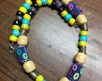Necklace,beaded necklace,colorful necklace,boho,ethnic necklace, tribal,colorful,pony beads,gypsy,ethnic