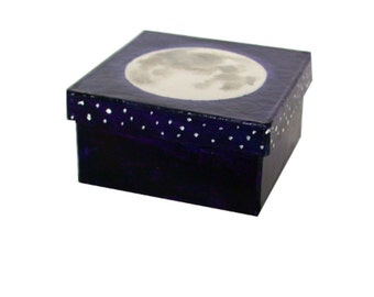 Night Sky, Moon Jewelry Gift Box, Small Storage Moon Box, Hand Painted Box