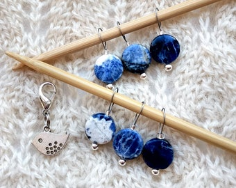 Knitting Stitch Markers - Sodalite gemstone round - snag free loops 12mm round blue removable silver bird set of 7 two loop sizes available