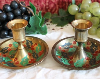 Pair of Brass Christmas Handled Candlestick Holders - Hand Painted Holly