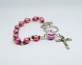 Pink Rosary Keychains