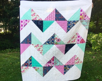 Handmade modern throw quilt